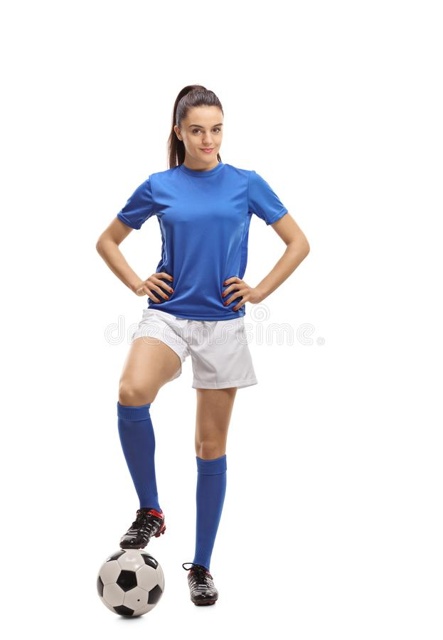 Jugador de fútbol de sexo femenino imagen de archivo