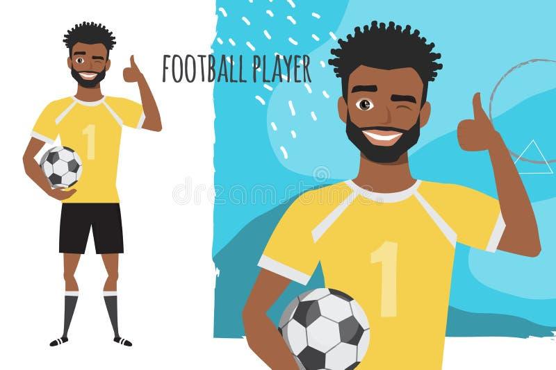 Jugador de f?tbol afroamericano negro positivo que sonr?e y recomendado stock de ilustración