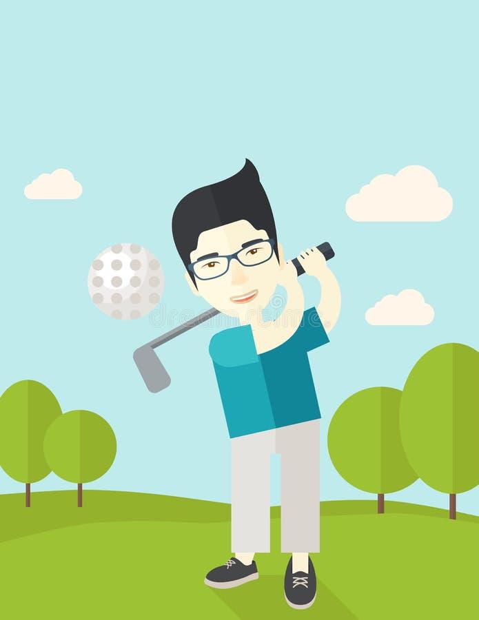 Jugador de golf en campo libre illustration