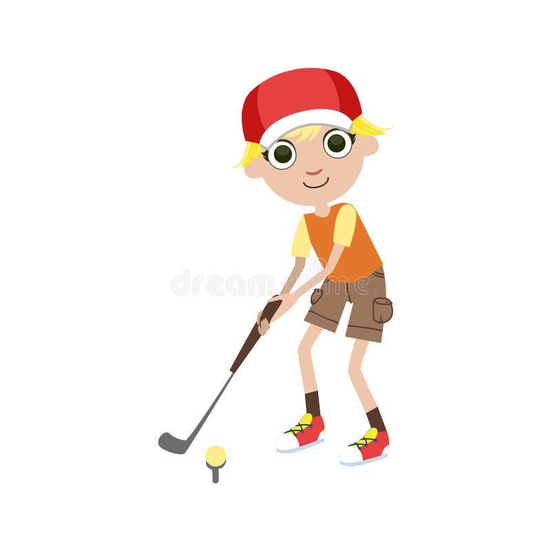 Jugador de golf joven stock de ilustración