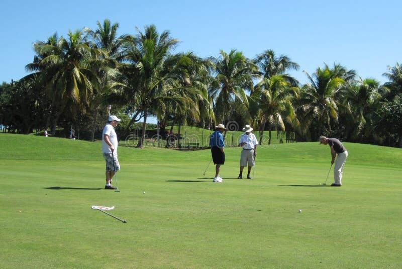 Jugador de golf masculino que hace que el suyo pone con cuarteto imagen de archivo