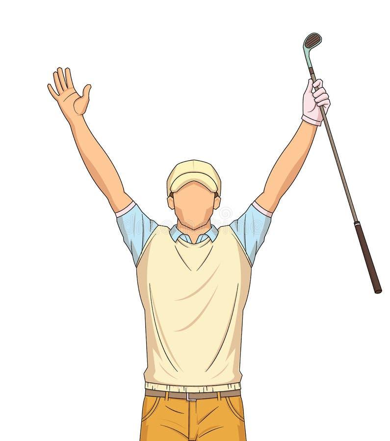 Jugador de golf que celebra, en un fondo blanco stock de ilustración