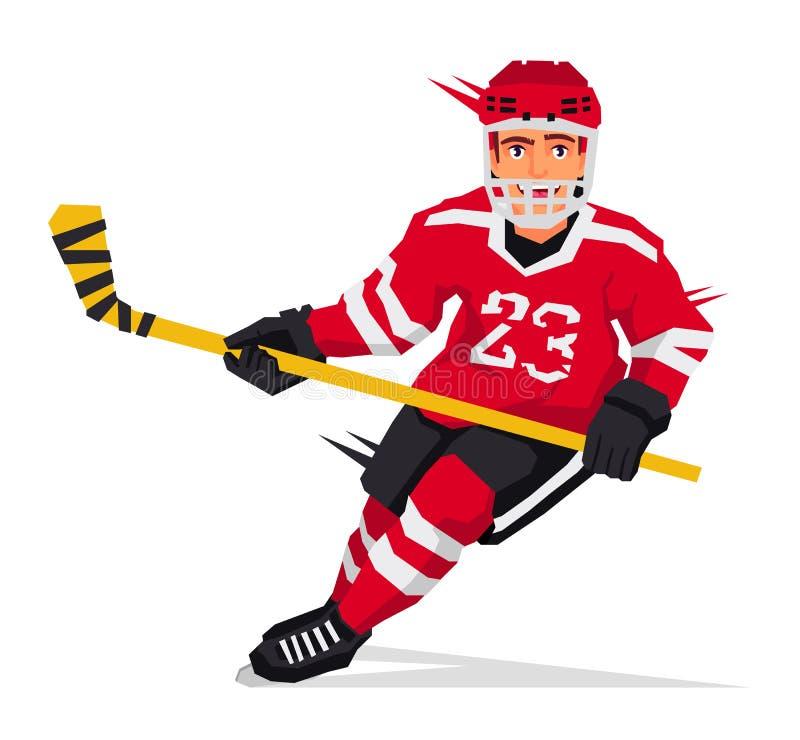 Jugador de hockey con un palillo stock de ilustración