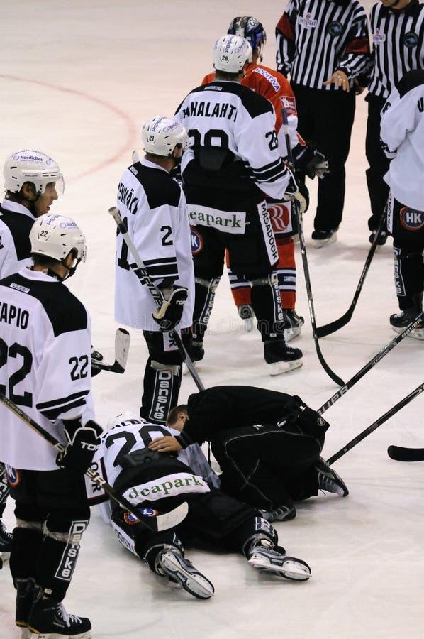 Jugador de hockey dañado fotografía de archivo libre de regalías