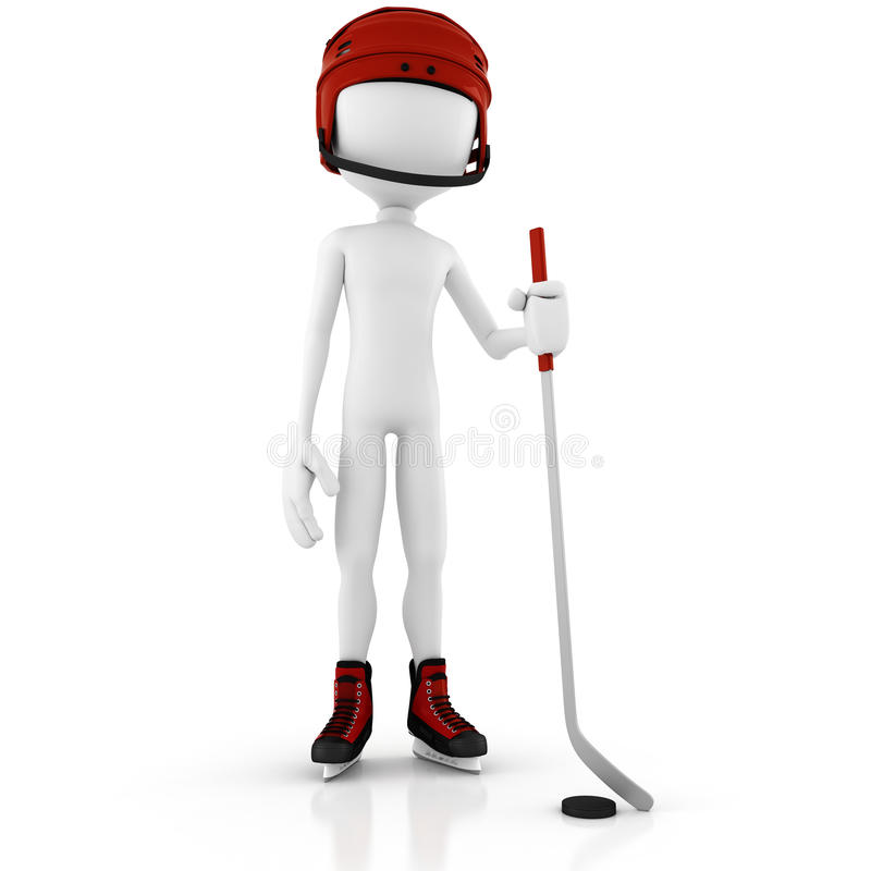 jugador de hockey del hombre 3d aislado en blanco ilustración del vector