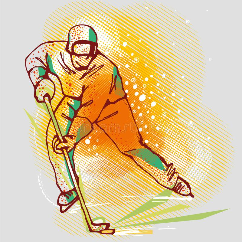 Jugador de hockey en gráficos, imagen del vector libre illustration