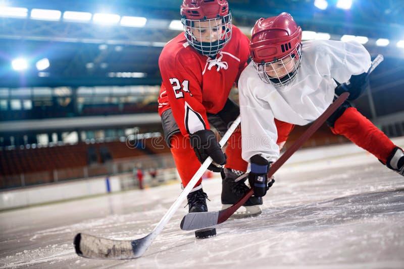 Jugador de hockey de los niños que maneja el duende malicioso en el hielo foto de archivo libre de regalías