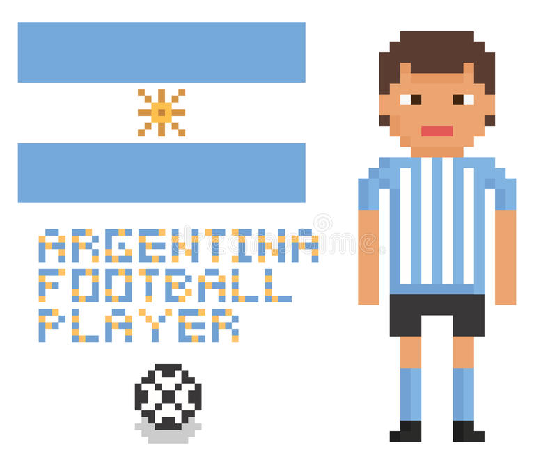 Jugador de la Argentina del fútbol o del fútbol del arte del pixel, ilustración del vector