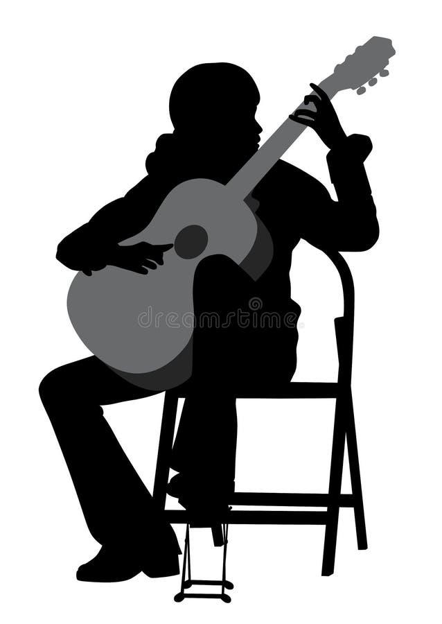 Jugador de la guitarra acústica de la mujer joven libre illustration