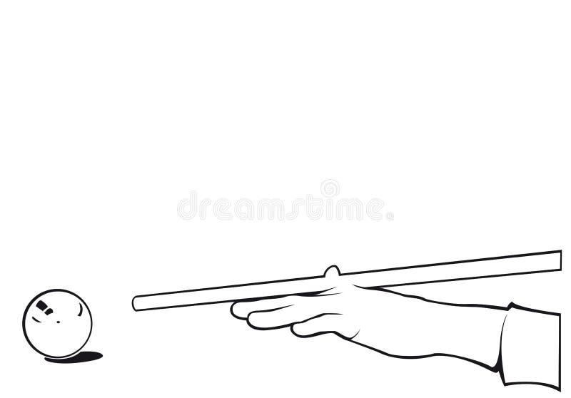 Jugador de la mano de los billares con contorno de la bola ilustración del vector