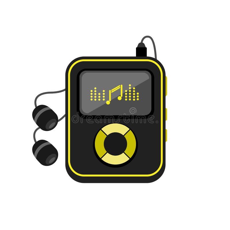 Jugador de música con el icono de los auriculares ilustración del vector
