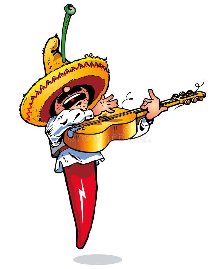 Jugador de música de los chiles - Pepe stock de ilustración