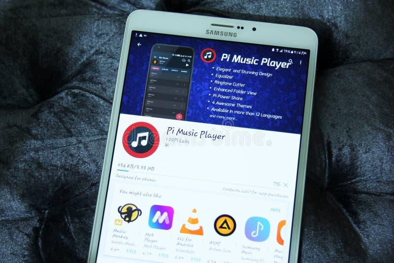 Jugador de música del pi app móvil foto de archivo libre de regalías