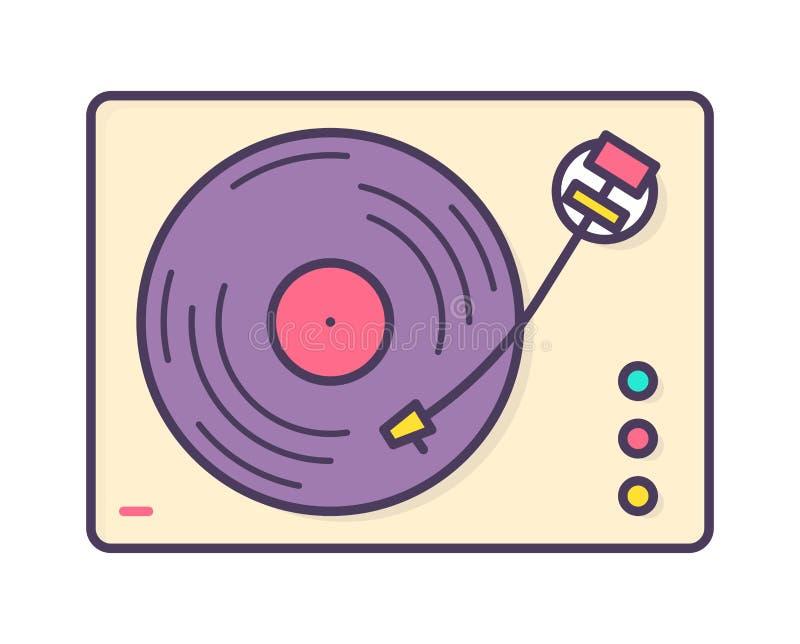Jugador de música, registrador o placa giratoria análogo jugando el disco de vinilo aislado en el fondo blanco Retro o pasado de  ilustración del vector