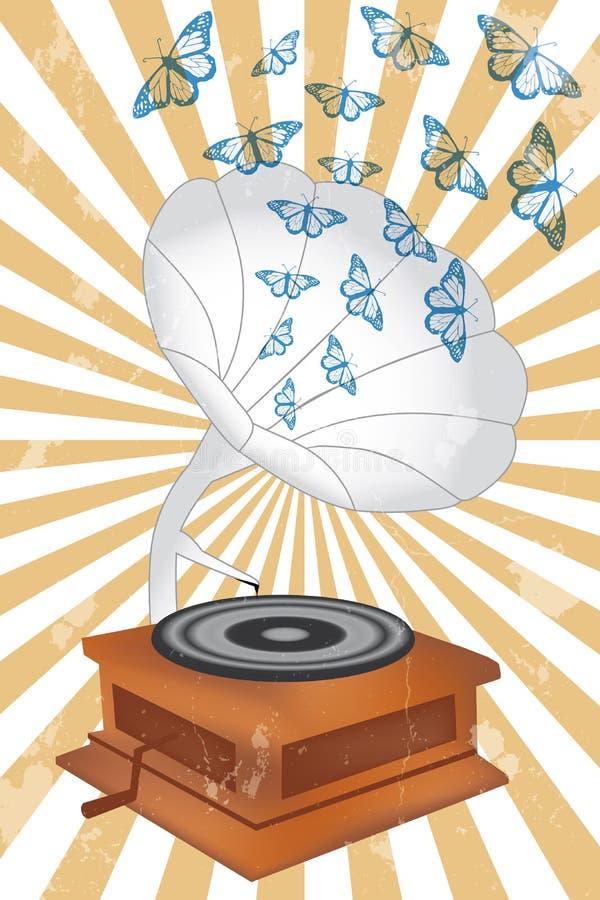 Jugador de música retro con las mariposas ilustración del vector