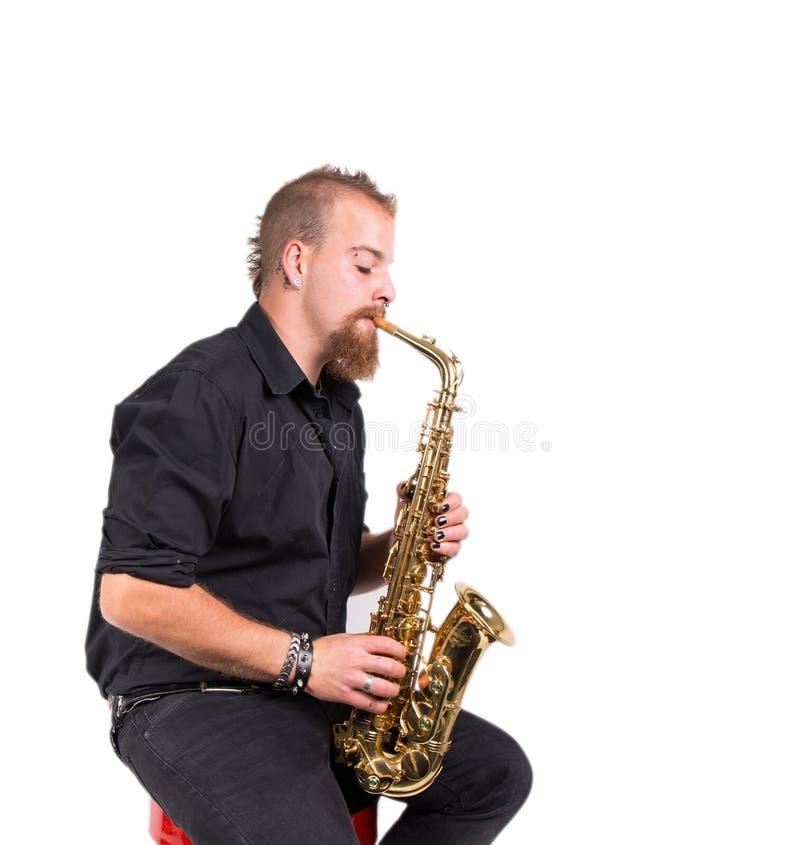 Jugador de saxofón imagen de archivo libre de regalías