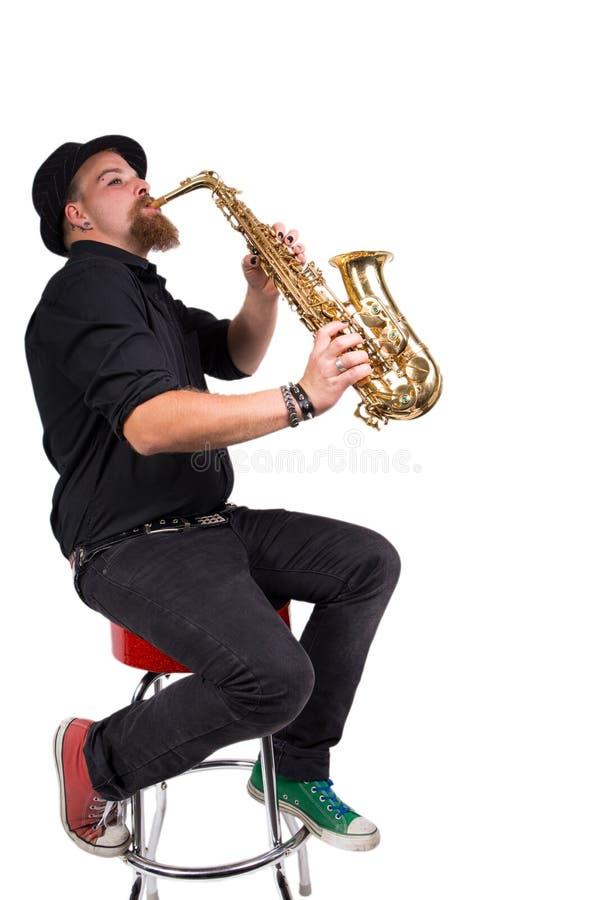 Jugador de saxofón imagenes de archivo