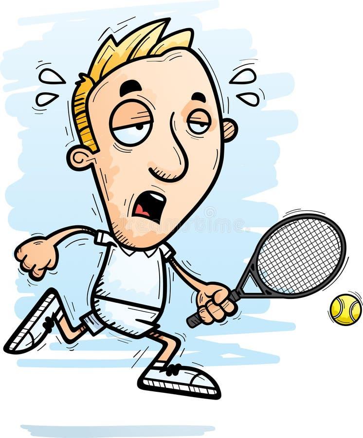 Jugador de tenis agotado de la historieta ilustración del vector