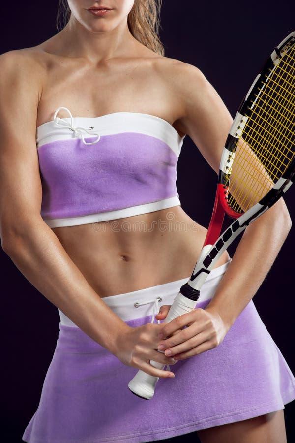 Jugador de tenis atractivo de la mujer foto de archivo