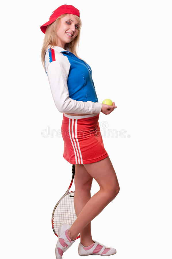 Jugador de tenis caucásico atractivo de la mujer de los años 20 foto de archivo