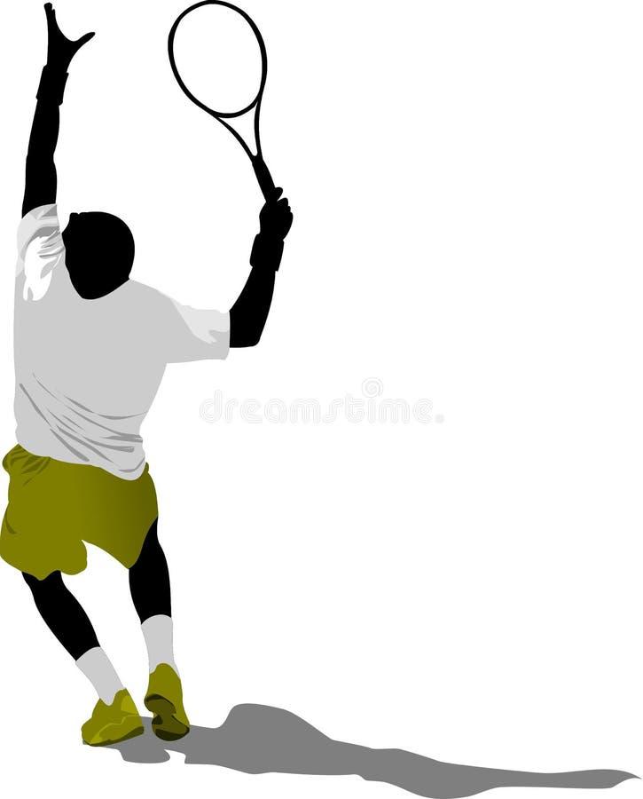 Jugador de tenis coloreado stock de ilustración