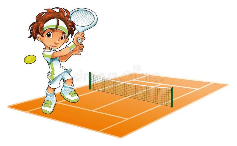 Jugador de tenis del bebé con el fondo ilustración del vector
