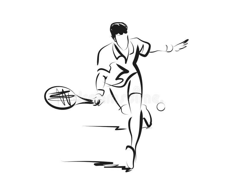 Jugador de tenis del bosquejo del vector foto de archivo