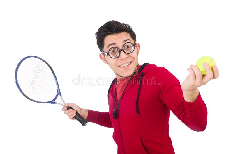 Jugador de tenis divertido aislado fotografía de archivo