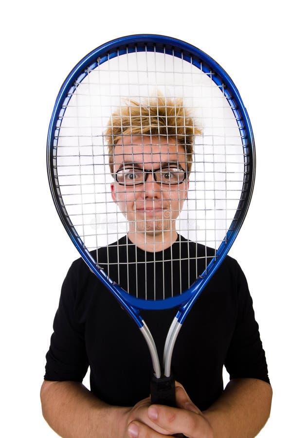 Jugador de tenis divertido aislado en blanco fotografía de archivo libre de regalías