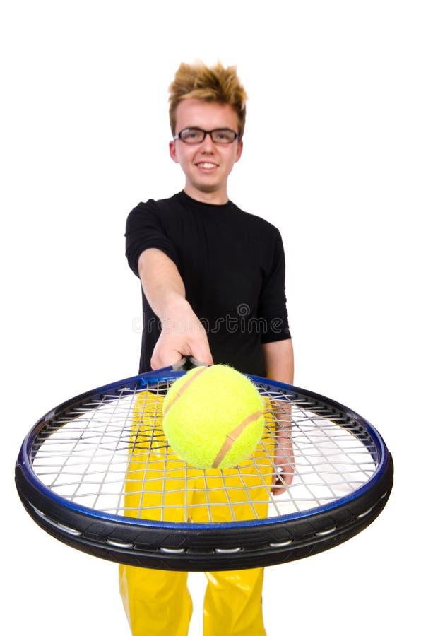 Jugador de tenis divertido aislado en blanco fotos de archivo libres de regalías
