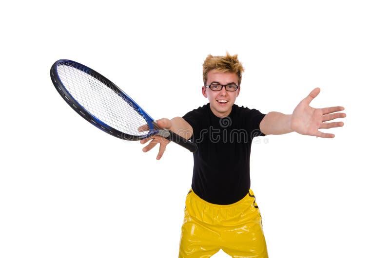 Jugador de tenis divertido aislado en blanco fotos de archivo