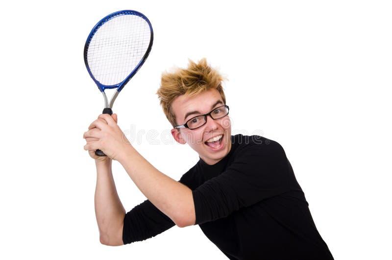 Jugador de tenis divertido aislado en blanco imagen de archivo