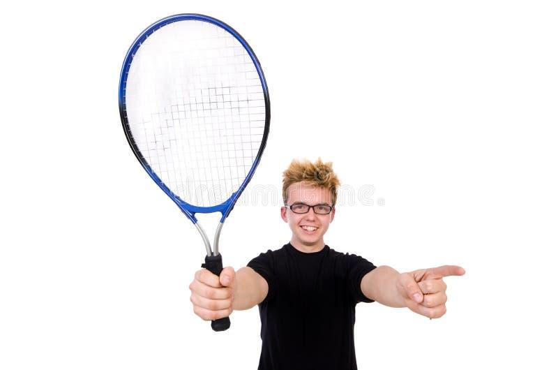 Jugador de tenis divertido aislado en blanco imagenes de archivo
