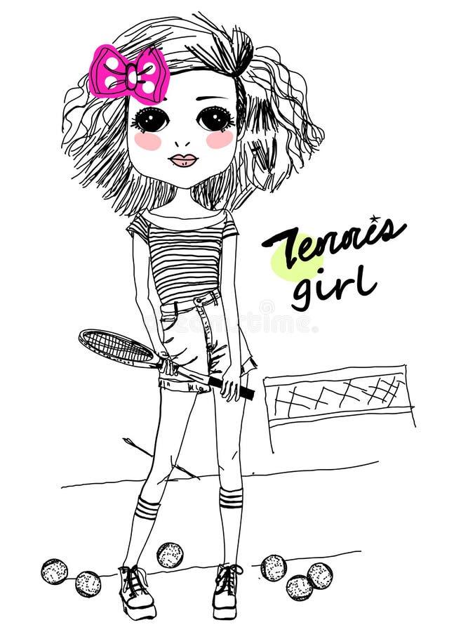 Jugador de tenis hermoso stock de ilustración