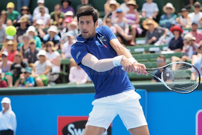 Jugador de tenis Novak Djokovic que se prepara para Abierto de Australia en los tournamen clásicos de la exposición de Kooyong imagen de archivo