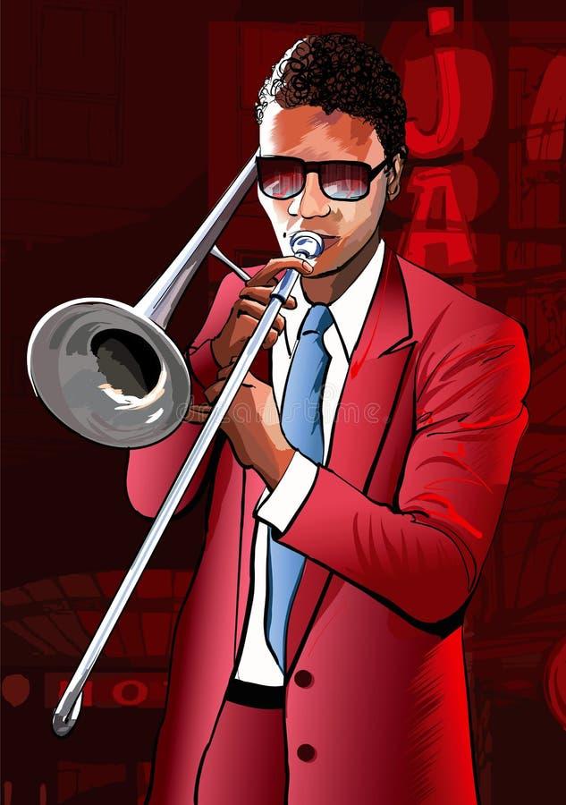 Jugador de trombón del jazz libre illustration