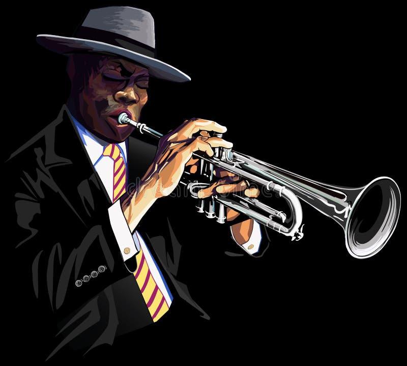 Jugador de trompeta stock de ilustración