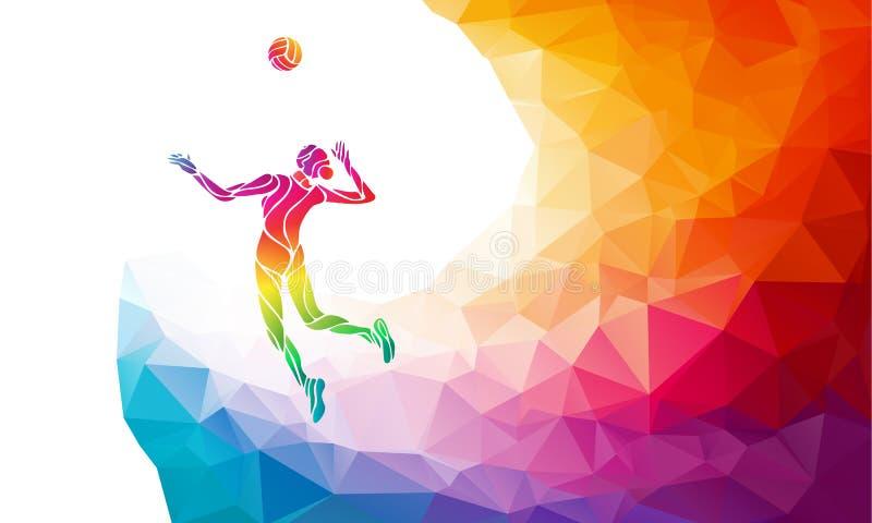 Jugador de voleibol femenino de servicio stock de ilustración