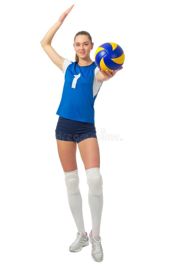 Jugador de voleibol de la mujer joven fotos de archivo