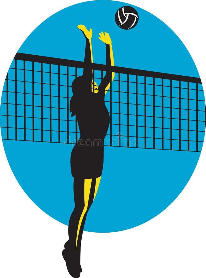 Jugador de voleibol que clava la bola retra stock de ilustración