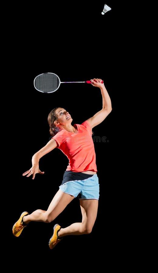 Jugador del bádminton de la mujer aislado sin la versión neta foto de archivo