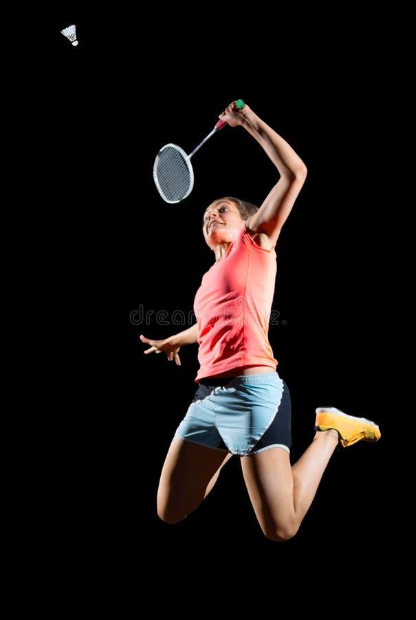 Jugador del bádminton de la mujer joven fotos de archivo