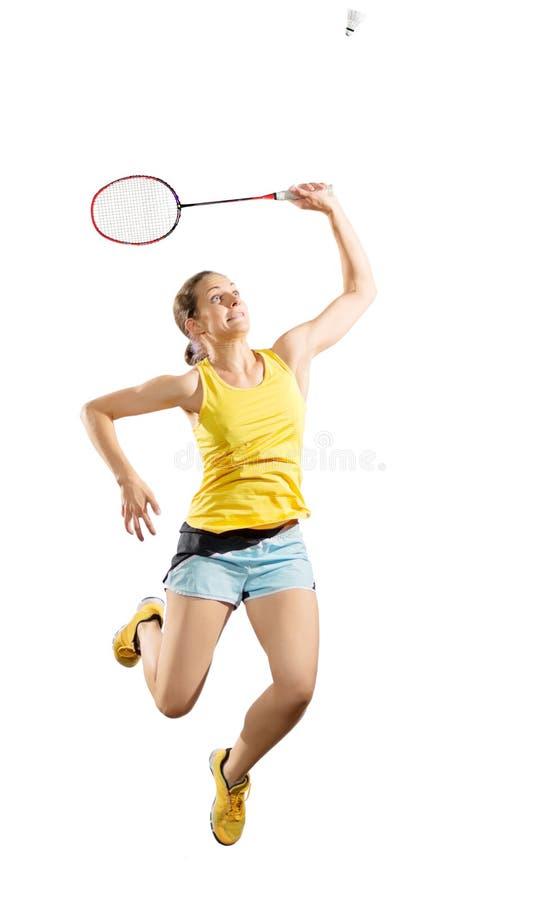 Jugador del bádminton de la mujer joven aislado imagen de archivo libre de regalías