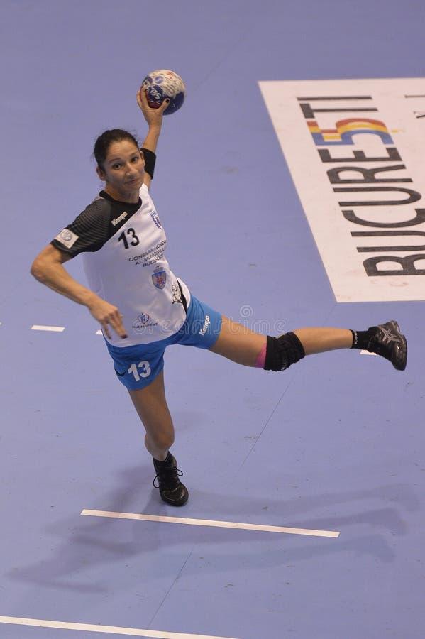 Jugador del balonmano, Cristina Varzaru imagenes de archivo
