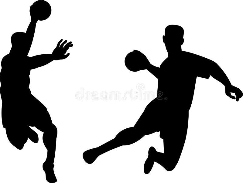 Jugador del balonmano que salta con la bola libre illustration