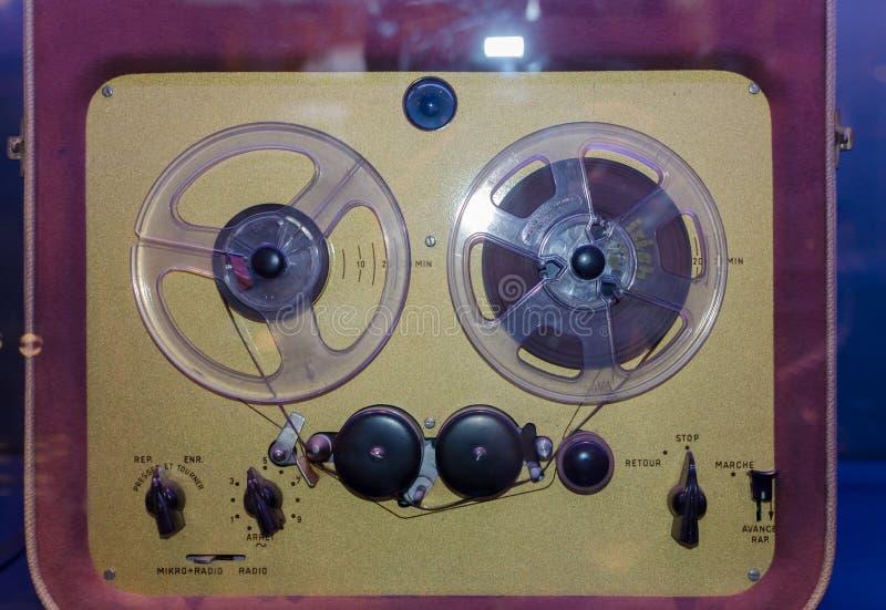 Jugador del carrete del vintage Cierre para arriba imagenes de archivo