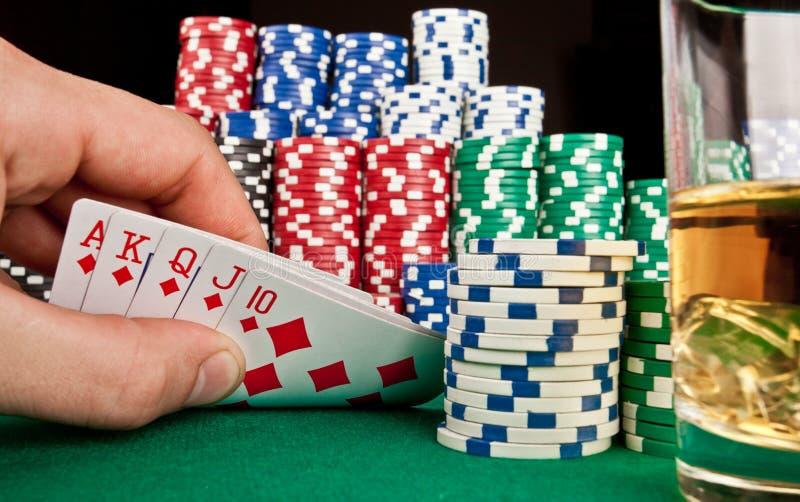 Jugador del concepto? A del póker con los as dobles? foto de archivo