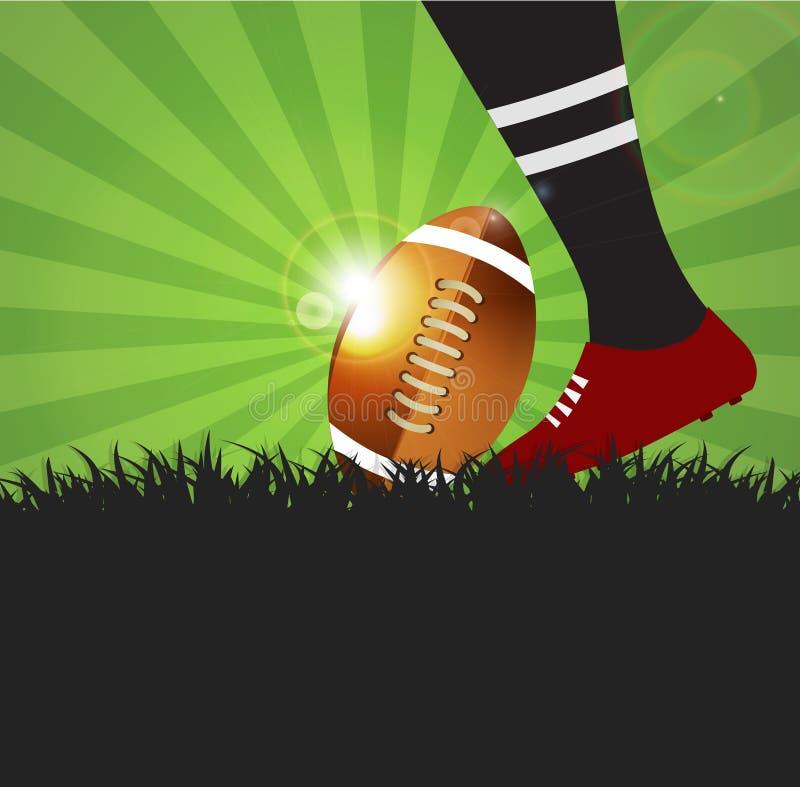 Jugador del fútbol o del rugbi con la bola en fondo de la hierba ilustración del vector