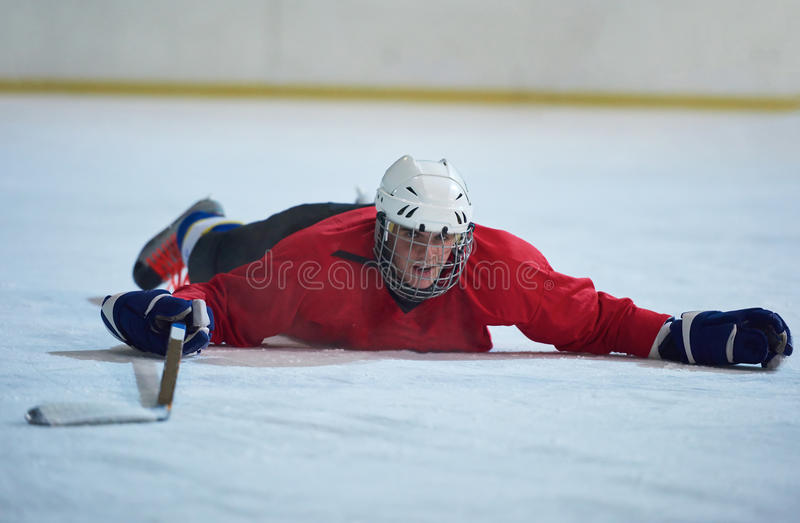 Jugador del hockey sobre hielo en la acción fotografía de archivo libre de regalías