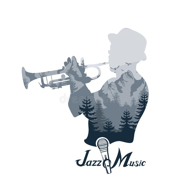 Jugador del jazz con la trompeta Imágenes de la exposición doble del músico Jugador de trompeta Letras con un micrófono libre illustration